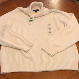 Karen Scott white turtleneck sweater Large NWT